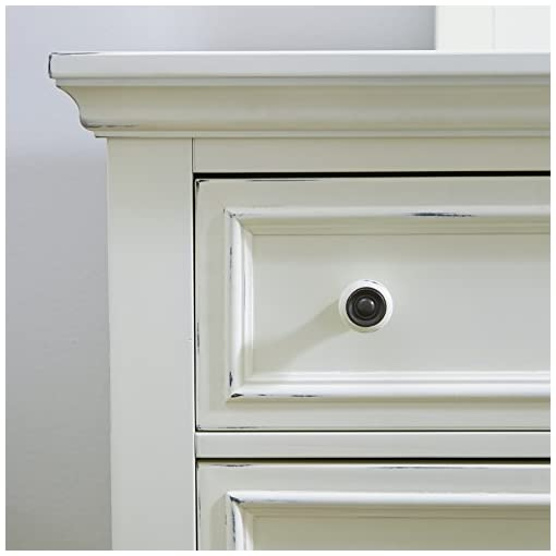 Bedroom Home Styles Dover White Dresser with Six Drawers, Two Felt-lined Drawers, Mahogany Solids, Engineered Wood, and Lightly… dresser
