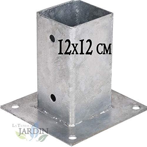 ANCLAJE CUADRADO METALICO 12x12 cm, base 17,5x17,5 cm. Ideal para postes de madera.: Amazon.es: Bricolaje y herramientas