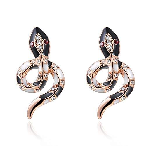 Naivo 18K Rose Gold Snake Stud Earring With Swarovski Crystals