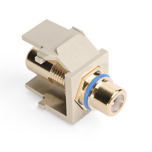 (Leviton 40830-BIL QuickPort RCA, Gold-Plated Connector with Blue Stripe, Ivory)
