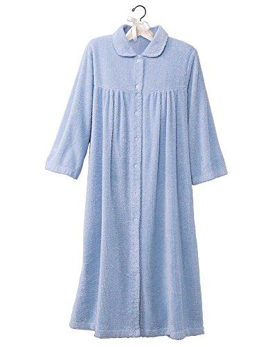 Womens Blue Chenille Robe - National Chenille Gripper Robe, Light Blue, Large