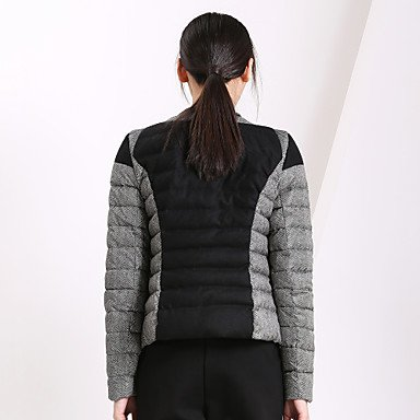 SHI Round Women¡®s BLACK Coat YRF Black L Blue YI Down Sleeve Long DIAN Patchwork Neck Casual gxwA5vt