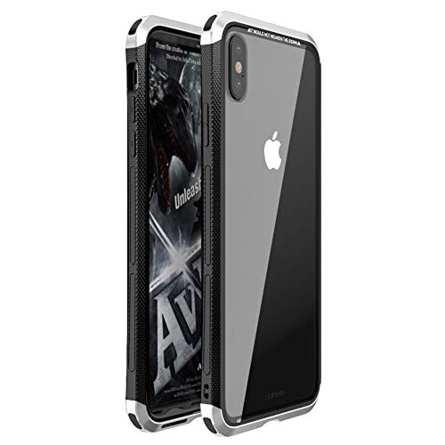 iPhone Xs Max Case, LWGON Luxury Aluminum Metal Frame + Transparent Tempered Glass PC Back Triple Cover case for iPhone Xs Max (3Glass Silver)