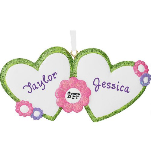 Best Friends Forever Hearts Personalized Christmas Tree Ornament