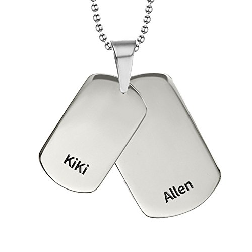 - Ouslier 925 Sterling Silver Personalized Unisex Double Dog Tag Necklace Custom Made with 2 Names (Personalization)