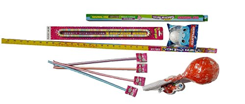 KIT – Includes Giant Tootsie Roll Pop, 3 Ft Yardstick Bubble Gum, Jawgantic Jawbreaker, Candy Necklace, Face Twister Sour Tower of Taffy, & 4 Jumbo Pixy Stix (TOTAL 9 Pieces) ()
