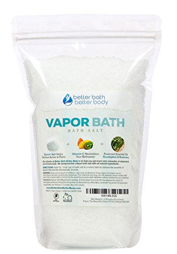 Vapor Bath Salt 2-Lbs (32 Ounces) - Epsom Salt With Eucalyptus & Rosemary Essential Oil & Vitamin C Crystals - Soothing Vapors To Relax & Release - Natural Bath Soak With Zero Perfumes Zero Dyes