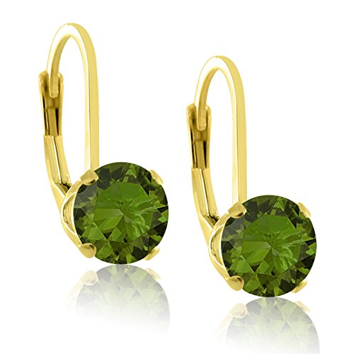14K Gold Plated Sterling Silver 6mm Brilliant Round Dark Green Olive CZ Lever Back Dangling Earrings