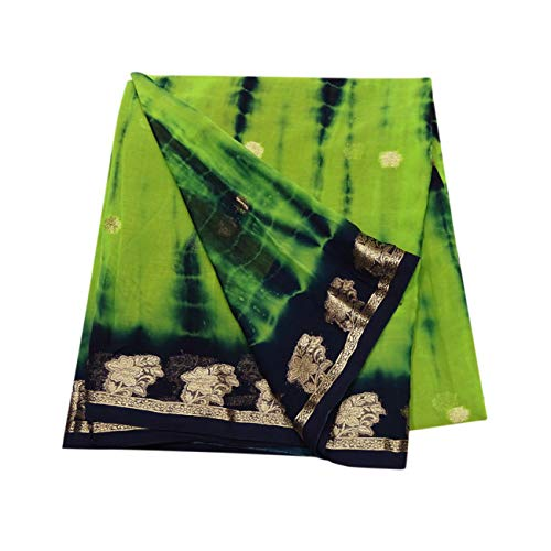Peegli Vintage Indian Saree Green Tie And Dye Pattern Hand Woven Traditional Wear Women Ethnic Designer Saree Georgette Blend DIY Recycled Fabric 5 YD