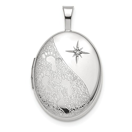 14K White Gold 16mm Diamond Footprints Oval Locket 16 Mm Oval Locket