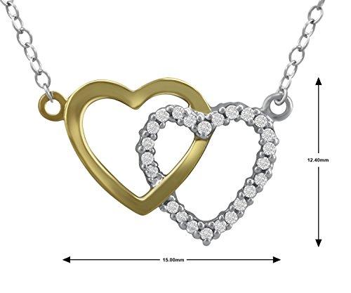 Tonalite double argent sterling Pendentif Double coeur Collier amour pour toujours concepteur En 0.15Ct IJ-I3 Real Diamond Pour Femmes et filles