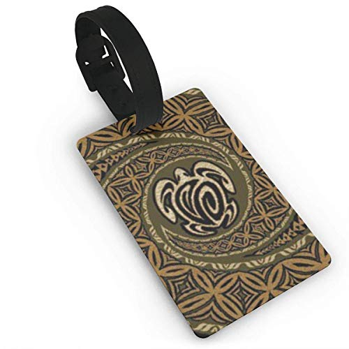 Hwensona Tapa Honu Turtle Deluxe Initial Luggage Tag with Full Privacy Cover