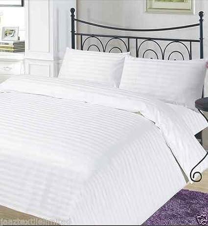 LUXURY T-300 HOTEL QUALITY 100/% EGYPTIAN COTTON SATIN STRIPE DUVET COVER SET WHITE Single Double King /& Super King Extra Pair of Pillowcase