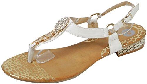 Nonnall - Sandale mit großen kleinen Steinen Zehentrenner Goldene Metall-Applikationen LederOptik Damen Sommer Schuhe 36 37 38 39 40 41 Oval Karo mit Steinen - Weiß