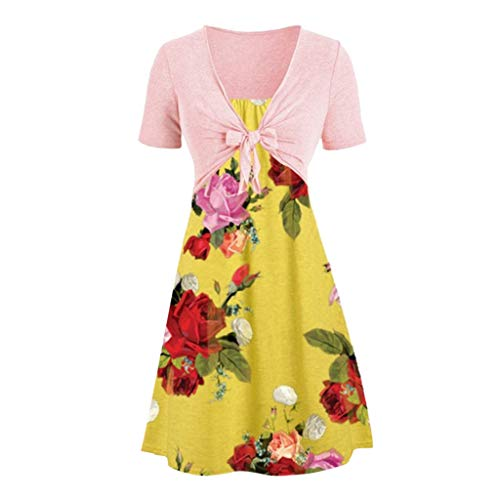 FengGa Women Dress Two Piece Suits Casual Sexy Sleeves High Waist Solid Bow Knot Shawl Coat Strap Flower Print Dress Yellow