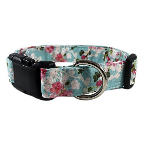 Blue Floral Dog or Cat Collar for Pets Size Large 1'' Wide and 15-23'' Long by Oh My Paw'd by Oh My Paw'd