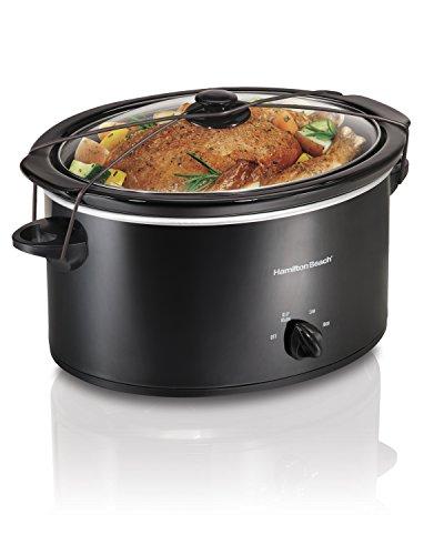 Hamilton Beach Portable 5-Quart Slow Cooker With Lid Latch Strap for Easy Transport, Dishwasher-Safe Crock, Black 33256