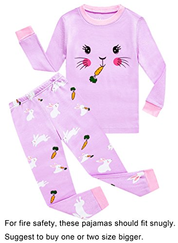 Choco Moon Big Girls Rabbit Easter Snug-Fit Pajamas 100% Cotton Purple PJS Clothes Infant Kid (Rabbit Moon Baby Girl)