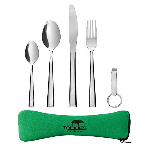 Tapirus Camping Eating Utensils To Go | Durable Stainless Steel Lightweight Construction Flatware | Travel Mess Cutlery Kit With Spoon, Teaspoon, Knife, Fork & Bottle Opener | Comes In A Carrying Case