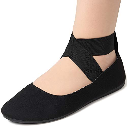 alpine swiss Peony Womens Ballet Flats Elastic Ankle Strap Shoes Black 10 M US ()