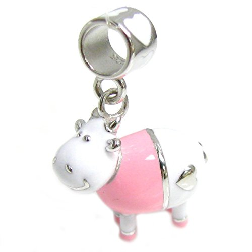Queenberry Sterling Silver 3-D Pink Cow Enamel European Style Dangle Bead Charm
