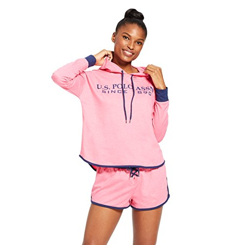 U.S. Polo Assn. Womens 2 Piece Cuffed Sleeve Athletic Hoodie Sweatshirt Shorts Set Pink Sapphire Heather X-Large