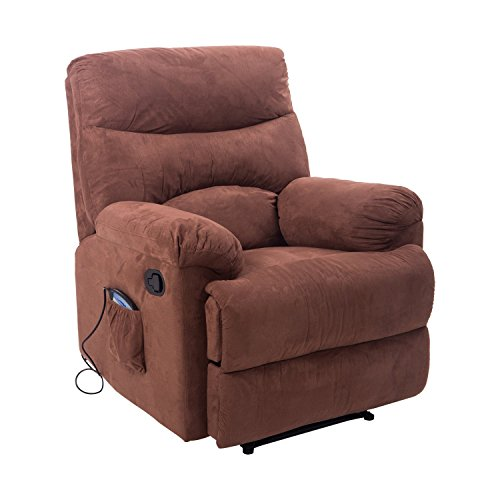 Massaging Recliner Chairs - HOMCOM Faux Suede Heated Vibrating Massage Recliner Chair with Remote - Cinnamon Brown
