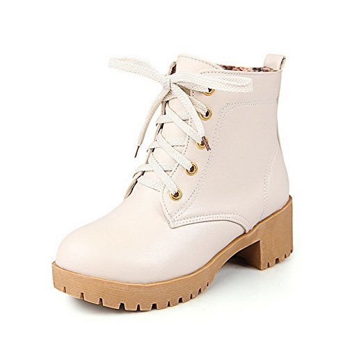 AgooLar Women's Round Closed Toe Kitten-Heels Soft Material Low Top Solid Boots Beige w1iiJ6Q1Uh