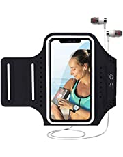 MILPROX Cell Phone Armband, Universal Waterproof Phone Arm Holder with Adjustable Elastic Band & Card Holder Fits for All Phones up to 6.5 Inches (iPhone, Samsung, LG, Pixel) for Gym, Hiking - Black