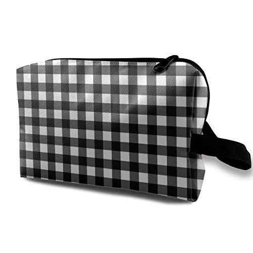 6 WINTER PLAID BLACK U0026 WHITE_12602 Portable Drawstring Cosmetic Bag Makeup Brush Bags Waterproof Women Girl Pink Sparkle