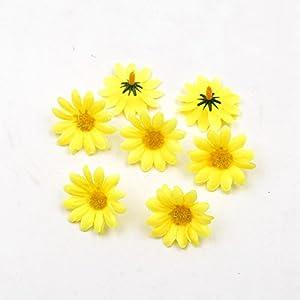 100pcs Artificial Flower Small Silk Sunflower Handmade Head Wedding Decoration DIY Wreath Gift Box Scrapbooking Craft Fake Flowe (White) 5
