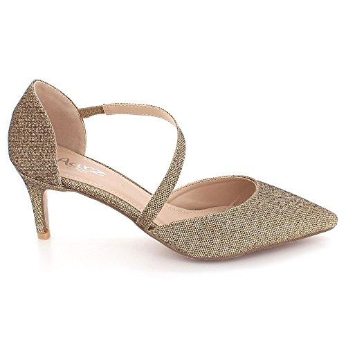 des de Marron Mariage Sandales Femmes de Bal Bout Chaton Pointu Taille Chaussures Soir Fête Milieu Talon Dames 1SnAFqU