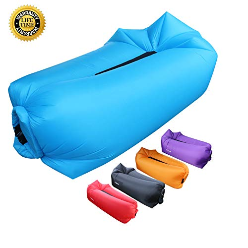 Hybag Inflatable Lounger Beach Chairs, Portable Waterproof Blow Up Couch Air Sofa Perfect Sleeping Bag Accessories for Picnics, Festivals Camping, Beach Fireworks Viewing (Blue)