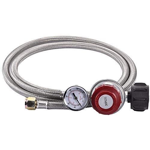 SODIAL 0~30 Psi Propane Regulator High Pressure Gas Regulator Adjustable Braided 3/8 Flare Swivel Nut Hose Connector With Gauge For Forge Foundry