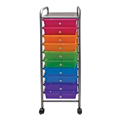 Advantus 10-Drawer Rolling Organizer, 37.6 x 13 x 15.4 Inches, Multi-Colored (AVT34004) ()
