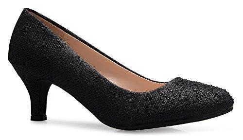 Glitter Classic Pumps - OLIVIA K Women's Comfort Classic Round Toe Kitten Low Mid Heel Dress Pumps