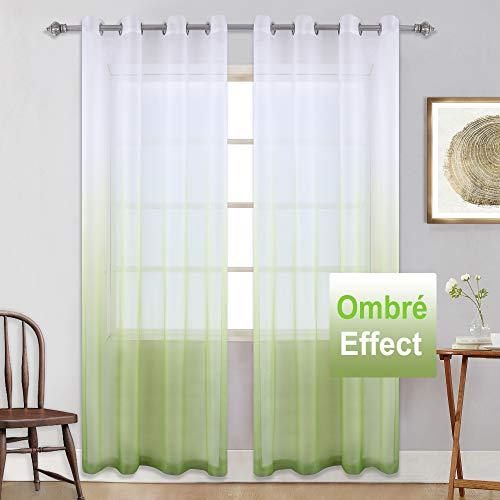 KEQIAOSUOCAI Grommet Ombre Light Green Curtain Semi Sheer Panel with Gradient Style Window Decor Drapes for Living Room/Bedroom/Sliding Glass Door ()