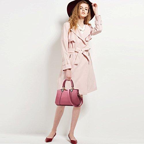 Handbags amp;DORIS Purse Tote Lady NICOLE PU B Black Leather Pink Bag Women Dark Shoulder Crossbody Bag amp;White Satchel dfqxtwvx