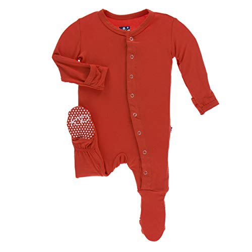 Kickee Pants Little Boys and Girls Solid Footie with Snaps - Poppy, 9-12 Months ()