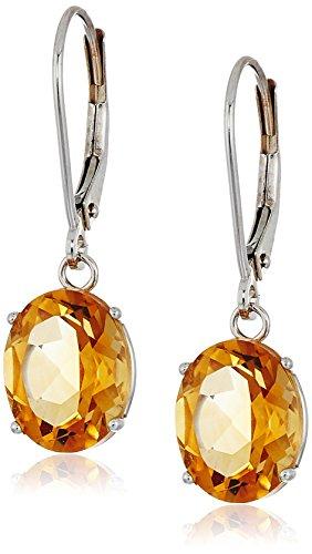 Citrine Oval Earring (14K Gold Oval Gemstone Dangle Leverback Earrings)