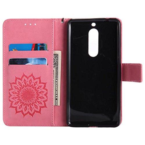 Porpora 5 Sottile Custodia Rosa Flip Magnetico Protettivo Cuoio Cover Custodia Nokia Borsa Nokia TPU 5 Silicone Fiorire Morbido LEMORRY Portafoglio Pelle Bumper per q8xf1EHw