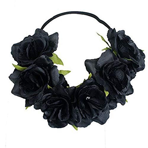 July 4th Headband, Floral Flower Crown Stretch Headband Elastic Hair Band Costumes for Women Girls Men Boys Black]()