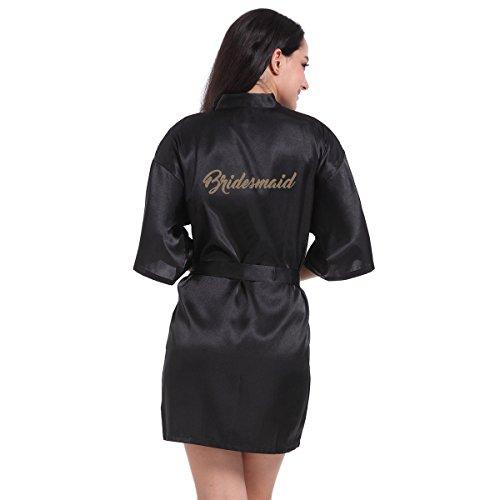 Amzchoice Womens Short Kimono Robe, Bridesmaid Edition With Gold Glitter