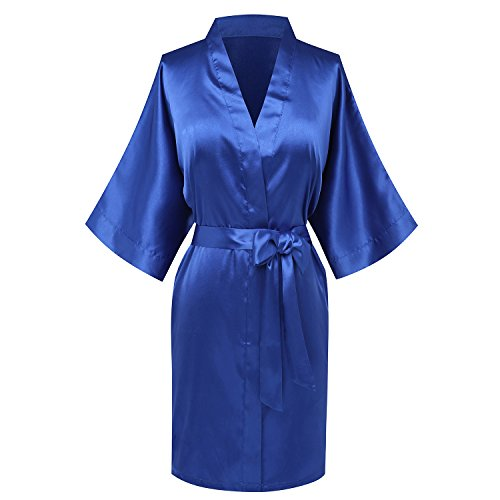 Goodmansam Women's Simplicity Stlye Bridesmaid Wedding Party Kimono Robes, Short,Azure Blue4,Medium by goodmansam