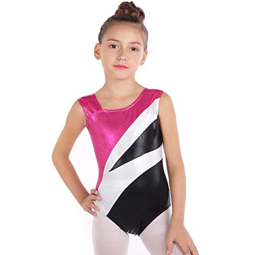 School Girls Metallic Leotard Gymnastics Ballet Dancewear Sleeveless One-Piece Shiny Sparkle Bodysuits Dance Competition Costume Unitard Sportwear Costume Training Leotards Hot Pink+Black 4-5 Years