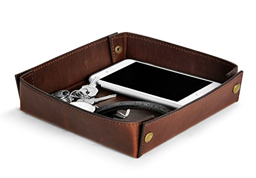 Hoffer Ruffer Handmade Top Notch PU Leather Key Jewelry Catchall Valet Tray Box Bedside Storage Organizer with Antique Brass Studs Decoration for Change, Coin, Key, Phone, 8