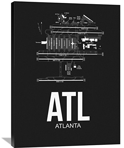 "Naxart Studio ATL Atlanta Airport Black Giclee on Canvas, 30"" by 1.5"" by 40"""