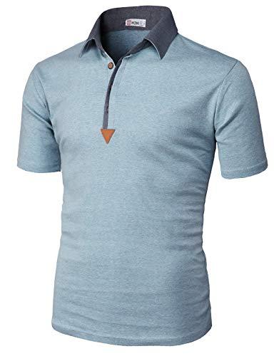 【H2H】 メンズ カジュアル ゴルフウェアー ファッション ベーシック 無地 スリームフィット ワンポイント 半袖 ポロシャツ