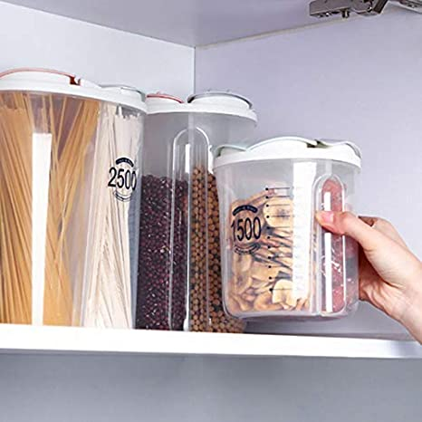Tanque Transparente Caja de Pl/ástico con Tapa Grano Seco Comida Saludable Almacenaje Contenedores Cutito Cereales Contenedor