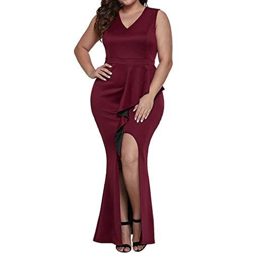 iLOOSKR Women Plus Size Casual Dress V-Neck Split Ruffles Sheath Sleeveless Evening Party Solid Long Dress Wine -